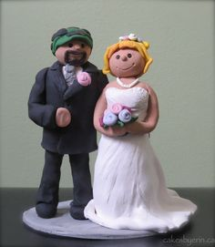Wedding Couple Topper: made out of clay.  Check out the adorable angels on this site, too. Ordered on Etsy.