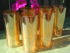 Marigold Carnival Glass tumblers  We have a set of these.