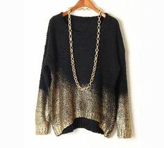 *free ship* metallic color block sweater