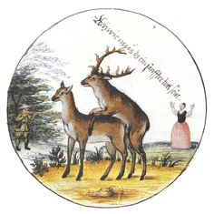"stag while mounting doe is shot by huntsman, at which woman exclaims, ""Ach wie mz daz ein sanffter tott sein"" [Ah! what a soft death that must be] painting dated 1629 of target belonging to Hans Philip von Hutten. -- from the Coburg Scheibenbuch. AND HEREWITH ADVERTISING MY NEW MUST-SEE EARLY MODERN SHOOTING TARGETS BOARD!"
