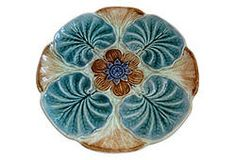 Wasmuel, Majolica Lilly pad plate on One Kings Lane. SOLD