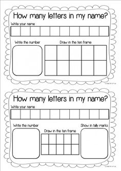 Use this sheet to help students discover how many letters are in their name.Students write each letter of their name in a box. They then count how many letters there are and write this in the big box
