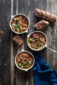 Mushroom, Sausage and Whole Grain Soup #slowcooker #comfortfood #hearty #soup #wholegrain