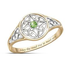 Celtic knot scrollwork in solid sterling silver and 18K gold plating, green peridot, engraved Irish blessing. Gift box with Irish Blessing poem card.