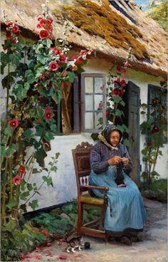 Peder Mørk Mønsted (1859-1941) -Granny knitting a sock, 1926