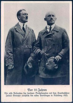 An old photo of Adolf Hitler & Julius Streicher in Nuremberg 1923 before the Beer Hall Putsch. Julius Streicher, Cities In Germany, Visit Germany, Picture Postcards, Old Postcards, Holidays Germany, European History, World War Ii, Ww2