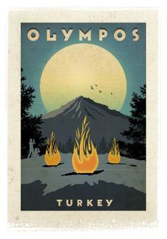 Olympos, Turkey.  Find more posters of Turkey in http://www.turkiyeposterleri.com