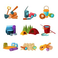 Hiking and Camping Icons Set. Travel Infographics. $5.00