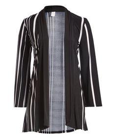 Look what I found on #zulily! Black & White Stripe Open Cardigan - Plus #zulilyfinds