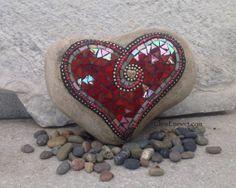 Large Iridescent Red Heart Mosaic  / Garden by ChrisEmmertMosaic, $75.00