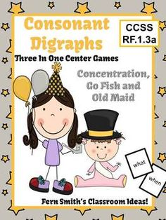 New Years Themed Consonant Digraphs Center Games & Interactive Notebook Pages Reading Games, Reading Centers, Reading Lessons, Literacy Centers, Teaching Reading, Teaching Ideas, Consonant Digraphs, New Year's Games, Interactive Journals