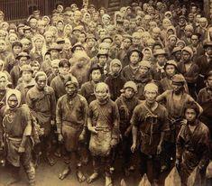Ashio copper mine workers, 1887 by Onozaki Kazunori