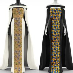 2 piece African Print Panel Cape Maxi Fitted Dress