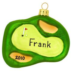 Personalized Golf Green Glass Ornament #golf #personalized #ornament #Christmas #Bronners $8.99