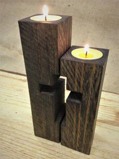 Wood projects for kids !A simple as well as fast guide to woodworking for newbies. Rustic Candle Holders, Rustic Candles, Diy Candles, Tea Light Candles, Tea Lights, Beeswax Candles, Scrap Wood Projects, Woodworking Projects, Woodworking Jointer