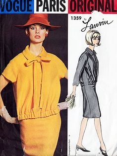 VPO 1359 Lanvin 1Pc Dress 1964-1966 Easy fitting collared dress has bloused bodice with loop & button closing.Short or 3/4 length raglan sleeves.Optional self tie bow.uncut Sz14/34/36 $48+ Canada