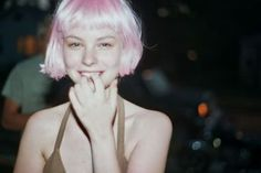 Pink hair | @andwhatelse - Short hair blunt cut with bangs pink bob