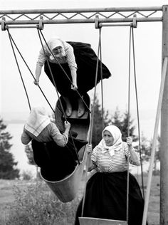 "Jirí Jíru Swinging grannies, Slovakia, 1966 From Poetry of Totalitarian Regime"", Prague Also swinging women vintage B Black White Photos, Black And White Photography, Monochrome Photography, Old Pictures, Old Photos, Vintage Photographs, Belle Photo, Old Women, Street Photography"