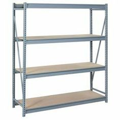 "Bulk Storage Rack Starter, 4 Tier, Particle Board, 72""Wx36""Dx96""H Gray by LYON WORKSPACE PRODUCTS. $487.95. Bulk Storage Rack Starter, 4 Tier, Particle Board, 72""Wx36""Dx96""H Gray Heavy gauge steel uprights and beams. Adjustable on 1-1/2"" centers. 1650-3300 lbs. capacity per pair of beams. Weight Capacity based on evenly distributed load. 10,000 lbs. per upright assembly."