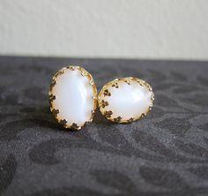 Moonstone Earrings Opal White Milky Gold Studs by Jewelsalem, $20.00