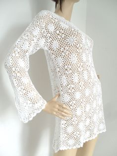 Vintage 60s 70s knitted CROCHET Bell angel sleeve mini dress