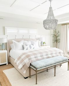 2020 Spring Home Tour Master bedroom with beaded chandelier, gingham bedding, blue and white bench, and jute rug. Decor, End Of Bed Bench, Block Printed Pillows, Home Decor Trends, Bedroom Trends, Home Decor, Bedroom Decor, Spring Home, Remodel Bedroom