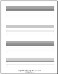 The grand staff with no bar lines or clef symbols, free download for music teachers