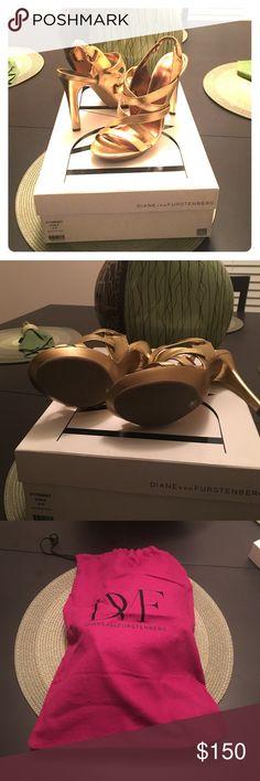 Size 9, Diane Von Furstenberg, gold sandal These gorgeous, never worn, gold metallic, heels will go great for a night on the town! Diane von Furstenberg Shoes Sandals