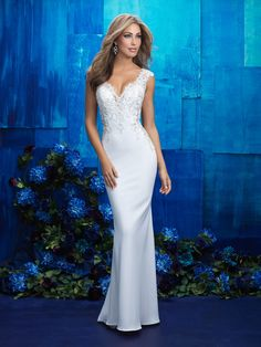 Allure 9417: Curve-hugging and dazzling all at once, this gown is a showstopper.
