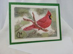 Winter Cardinal Blank Card, Watercolor Art Card, Cardinal Green Glitter Card, Birthday Thank You Get Well Holiday Christmas Winter Note Card