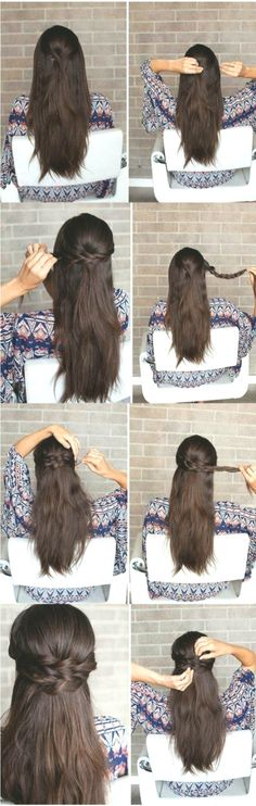 Amazing Half-Up Half-Down Hairstyles for Long Hair - Braided . Amazing Half-Up-Half-Down . # amazing # for # braided # hair Best Picture For wedding hairstyles half up half down twist For Your Tas Down Hairstyles For Long Hair, Wedding Hairstyles Half Up Half Down, Wedding Hairstyles With Veil, Braids For Long Hair, Trendy Hairstyles, Braided Hairstyles, Short Wedding Hair, Bridesmaid Hairstyles, Amazing Hairstyles