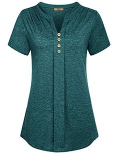 Miusey Women's Notch V Neck Long Sleeve Pleat Knit Henley Tunic Shirt – Girls Tank Top Stil Inspiration, Chic Outfits, Fashion Outfits, Sleeveless Tunic Tops, Fancy Tops, Latest African Fashion Dresses, Loose Fitting Tops, Tunic Shirt, Blouse Styles