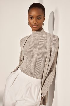 Our rich fabrication of jacquard herringbone knit is paired with luxurious metallic cashmere for a hint of shine. #RalphLauren #RLCollection Ralph Lauren Collection, Cashmere, High Neck Dress, Turtle Neck, Glamour, Clothes For Women, Elegant, My Style, Spring