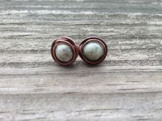 Handmade Wire Wrapped Stud Earrings. Antique Copper Wire Wrapped Natural Kiwi Jasper Gemstone Beads. Simple and Pretty Copper Earrings on Etsy, $12.00
