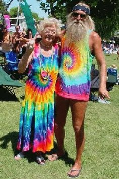 Hippie style.. not what i like in style but i have to tell ya! these oldies but goodies are to darn cute! you go grampa with the long tee and no shorts....lol(Please tell me has something under there.....