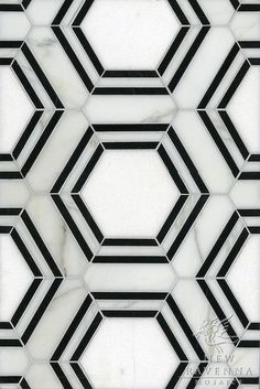 geometric tiles Pembroke, a natural stone waterjet mosaic shown in Calacatta Tia, Thassos and Nero Marquina honed, is part of the Silk Road Collection by Sara Baldwin for New Ravenna Mosaics. Copyright New Ravenna ® Floor Patterns, Textures Patterns, Ravenna Mosaics, New Ravenna, Marble Tiles, Tiling, Marble Art, Hex Tile, Stone Mosaic