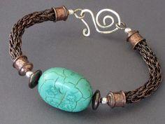 Turquoise and Copper Hybrid Viking Knit Bracelet---------love viking knit