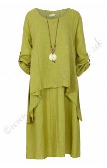 Kelly linen Twin Set with Matching Necklace - Lime
