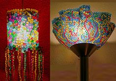 Artists Mark Kirk and Heather MacFarlane turn trash to treasure by melting and manipulating the iconic mardi gras beads into masked light sconces sold at their Magazine Street store