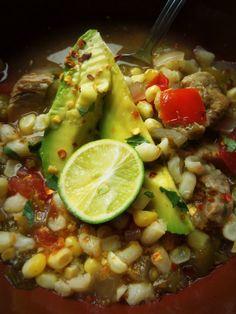 "Slow Cooked Pork Tomatillo Soup With Corn & Hominy- ""Pozole Blanco"" - Hispanic Kitchen"
