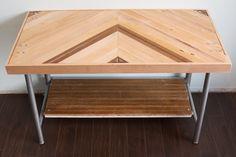Reclaimed Oak Wood and Metal Chevron Desk/Credenza. $450.00, via Etsy.