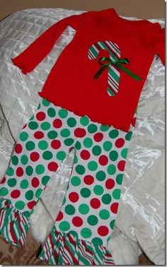 reverse applique shirt  ruffle pants Christmas outfit for girls