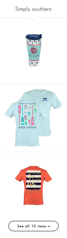 """""""Simply southern"""" by emily-wollan ❤ liked on Polyvore featuring blue, shoes, mult, preppy shoes, tops, t-shirts, crew t shirts, crewneck t shirt, screen print tees and screen print t shirts"""