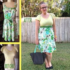 Floral and Stripes Dress - Before & After