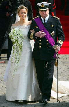 Prince Laurent of Belgium and his bride Claire Coombs wed on 12 Apr 2003