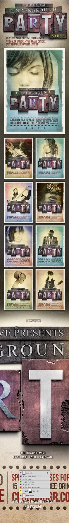 Underground Party Poster Design Template  #gig #grunge #indie • Click here to download ! http://graphicriver.net/item/underground-party-poster-design-template/2413940?s_rank=478&ref=pxcr