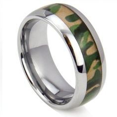 King Will 8mm Tungsten Ring Domed Surface High Polished Green Camo Hunting Camouflage Wedding Band Hunter