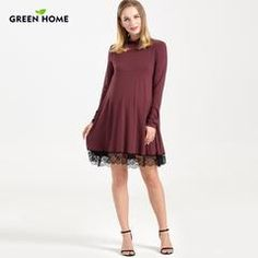 Long Sleeve Flowy Maternity / Nursing Lace Bottom Dress | Lollabuy