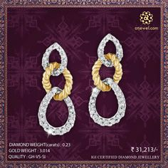 Design Of The Day..... ATJewel Introducing Beautiful Diamond Earrings For You.Beautiful Design,Beautiful Stylish Earrings In Your Budget Prize.Shop Now #ATJewel #Diamond #Earrings #Gold #EasyOnBudget http://bit.ly/2jodPck