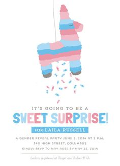 Pinata Gender Reveal Baby Shower Invitation by Keen Peachy